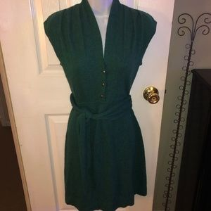 BANANA REPUBLIC GREEN WOOL CASHMERE SWEATER DRESS